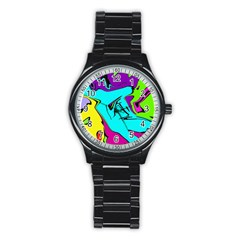 Abstract Sport Metal Watch (black)