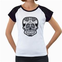 Skull Women s Cap Sleeve T-Shirt (White)