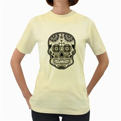 sugar skull Women s Yellow T-Shirt