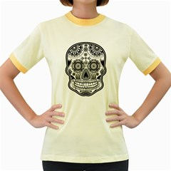 Skull Womens  Ringer T-shirt (Colored)
