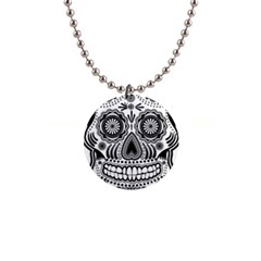 Sugar Skull 1  Button Necklace