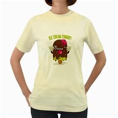 I Scream      Womens  T Shirt (yellow)