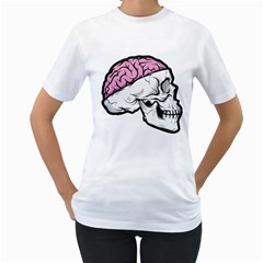 Skull & Brain Womens  T-shirt (White)