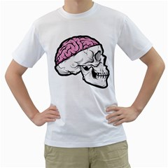 Skull & Brain Mens  T Shirt (white)