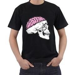 Skull & Brain Mens' Two Sided T-shirt (Black)