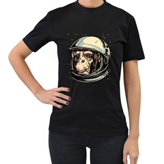 SpaceMonkey Womens' Two Sided T-shirt (Black)