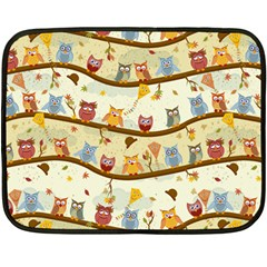 Autumn Owls Mini Fleece Blanket (single Sided)