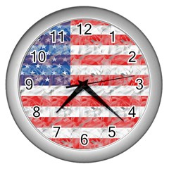 Flag Wall Clock (Silver)