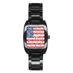 Flag Stainless Steel Barrel Watch