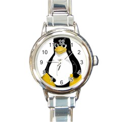 Angry Linux Tux penguin Round Italian Charm Watch