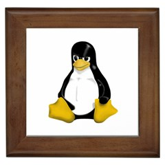 Angry Linux Tux Penguin Framed Ceramic Tile