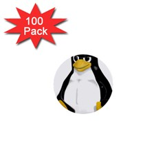 Angry Linux Tux penguin 1  Mini Button (100 pack)