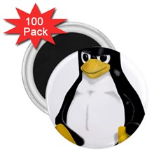Angry Linux Tux penguin 2.25  Button Magnet (100 pack)