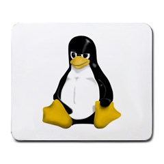 Angry Linux Tux penguin Large Mouse Pad (Rectangle)