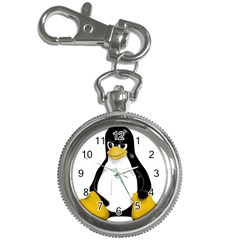 Angry Linux Tux penguin Key Chain & Watch