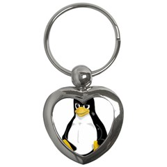 Angry Linux Tux penguin Key Chain (Heart)