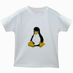 Angry Linux Tux penguin Kids' T-shirt (White)