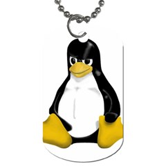Angry Linux Tux penguin Dog Tag (One Sided)