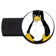 Angry Linux Tux penguin 1GB USB Flash Drive (Round)
