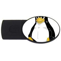 Angry Linux Tux penguin 2GB USB Flash Drive (Oval)