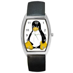 Angry Linux Tux Penguin Tonneau Leather Watch