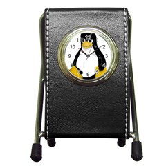 Angry Linux Tux penguin Stationery Holder Clock