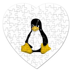 Angry Linux Tux Penguin Jigsaw Puzzle (heart)