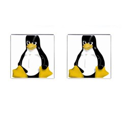 Angry Linux Tux Penguin Cufflinks (square)