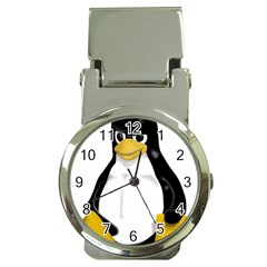Angry Linux Tux penguin Money Clip with Watch