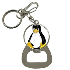 Angry Linux Tux Penguin Bottle Opener Key Chain