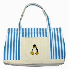 Angry Linux Tux penguin Blue Striped Tote Bag