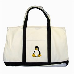 Angry Linux Tux Penguin Two Toned Tote Bag