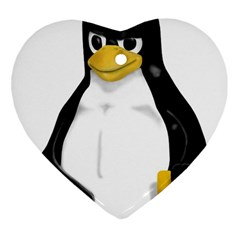 Angry Linux Tux penguin Heart Ornament (Two Sides)