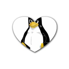 Angry Linux Tux penguin Drink Coasters (Heart)
