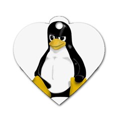 Angry Linux Tux penguin Dog Tag Heart (One Sided)