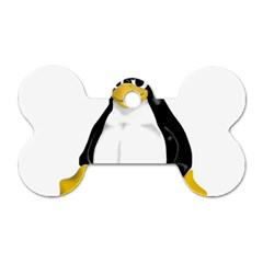 Angry Linux Tux penguin Dog Tag Bone (One Sided)
