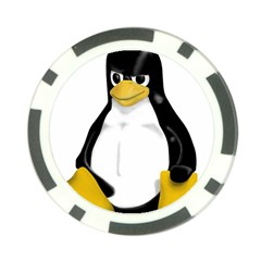 Angry Linux Tux penguin Poker Chip