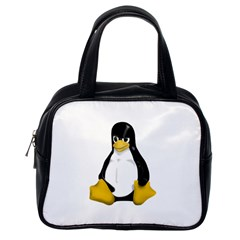Angry Linux Tux Penguin Classic Handbag (one Side)