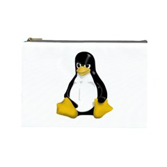 Angry Linux Tux penguin Cosmetic Bag (Large)