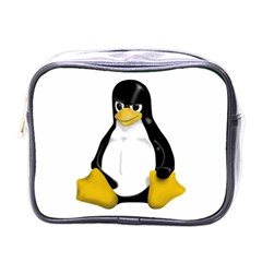 Angry Linux Tux penguin Mini Travel Toiletry Bag (One Side)