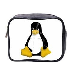 Angry Linux Tux penguin Mini Travel Toiletry Bag (Two Sides)