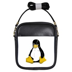 Angry Linux Tux penguin Girl s Sling Bag