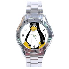 Angry Linux Tux Penguin Stainless Steel Watch
