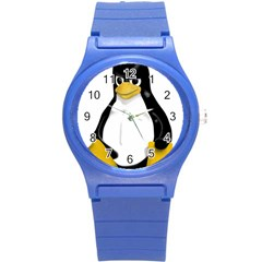 Angry Linux Tux Penguin Plastic Sport Watch (small)
