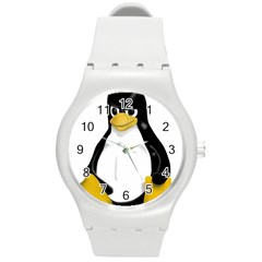 Angry Linux Tux penguin Plastic Sport Watch (Medium)
