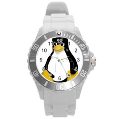 Angry Linux Tux penguin Plastic Sport Watch (Large)