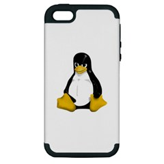 Angry Linux Tux penguin Apple iPhone 5 Hardshell Case (PC+Silicone)