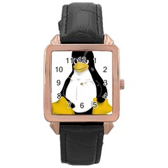 Angry Linux Tux penguin Rose Gold Leather Watch