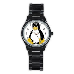 Angry Linux Tux penguin Sport Metal Watch (Black)