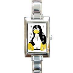 Primitive Linux Tux Penguin Rectangular Italian Charm Watch